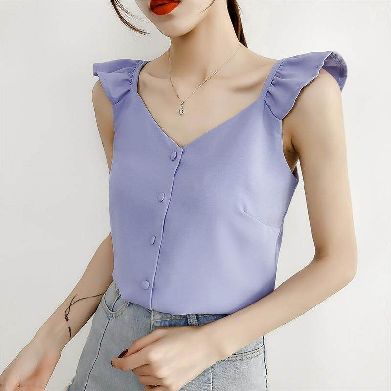 (Pre Order14 Days JYS Fashion Korean Style Women Chiffon top Collection 521- 8034col521-8034--Blue -S