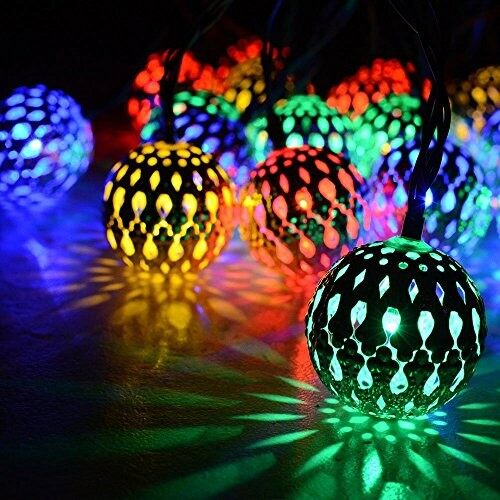 Ball Lights - 5 Meters 50 4cm Steel Balls Battery Operated Outdoor Fairy String Light