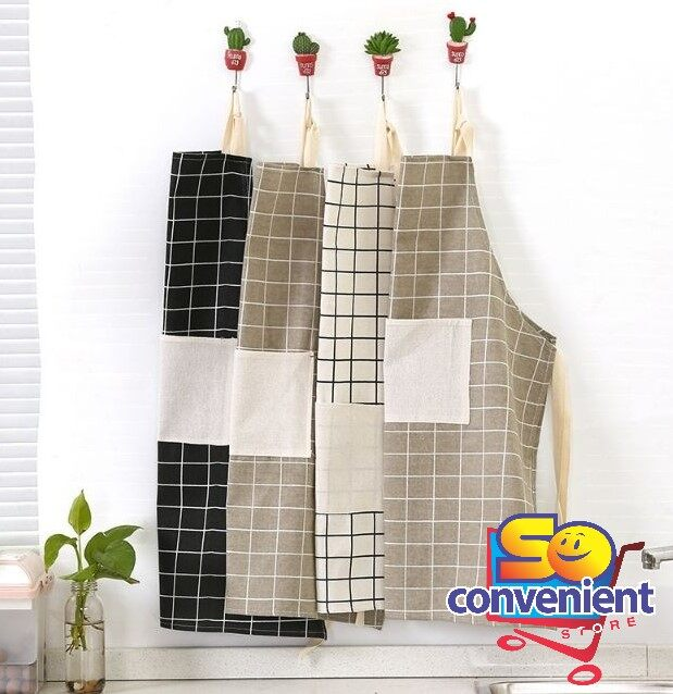 Korean style Kitchen Household Anti Oil Cotton Apron #Black Plaid