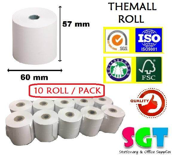 Thermal Paper Roll 57 x 60 x 12 10`s/pack