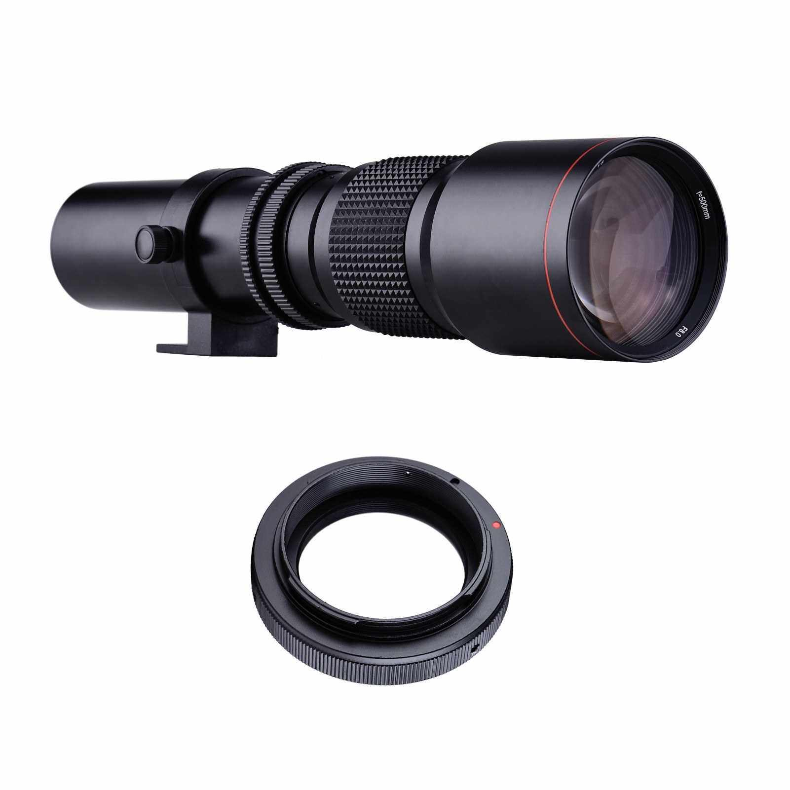 500mm F/8.0-32 Multi Coated Super Telephoto Lens Manual Zoom + T-Mount to EF-Mount Adapter Ring Kit Replacement for Canon EOS Rebel T3 T3i T4i T5 T5i T6 T6i T6s T7 T7i SL1 SL2 6D 7D 60D 70D 77D 80D 5D II/III/IV DSLR Camera (Standard)