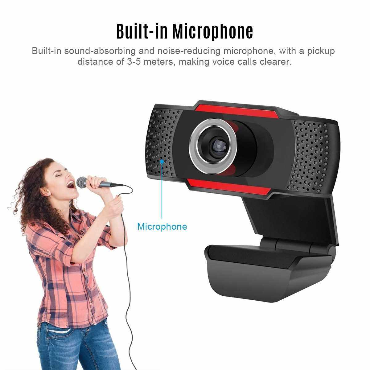 Video Conference Camera 720P HD Webcam Computer Camera with Noise Reduction Microphone USB Plug & Play for Video Meeting Online Training Teaching (Black)