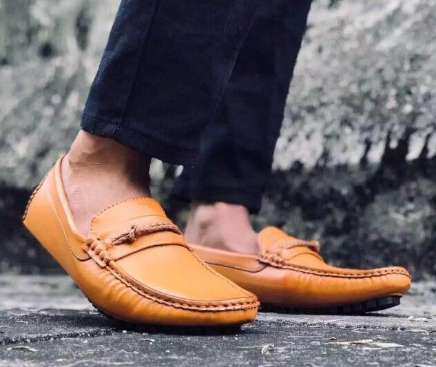 Casual Flats Soft leather Men loafers Shoes Walking Footwear Driving Shoes Breathable Comfortable Adult Lazy Shoes hard wearing