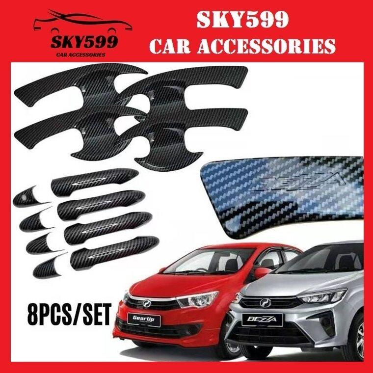 Perodua Bezza Door Handle Cover + Bowl Carbon 8pcs Keyless