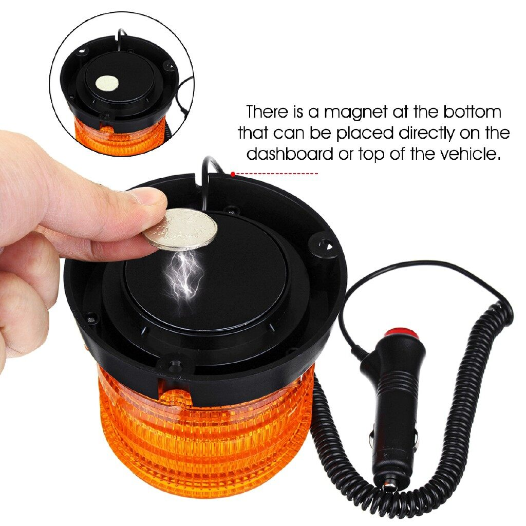 Car Lights - 12-24V 30LED Magnetic Amber Warning Beacon Strobe Light Emergency Alarm Tractor Lamp - Replacement Parts