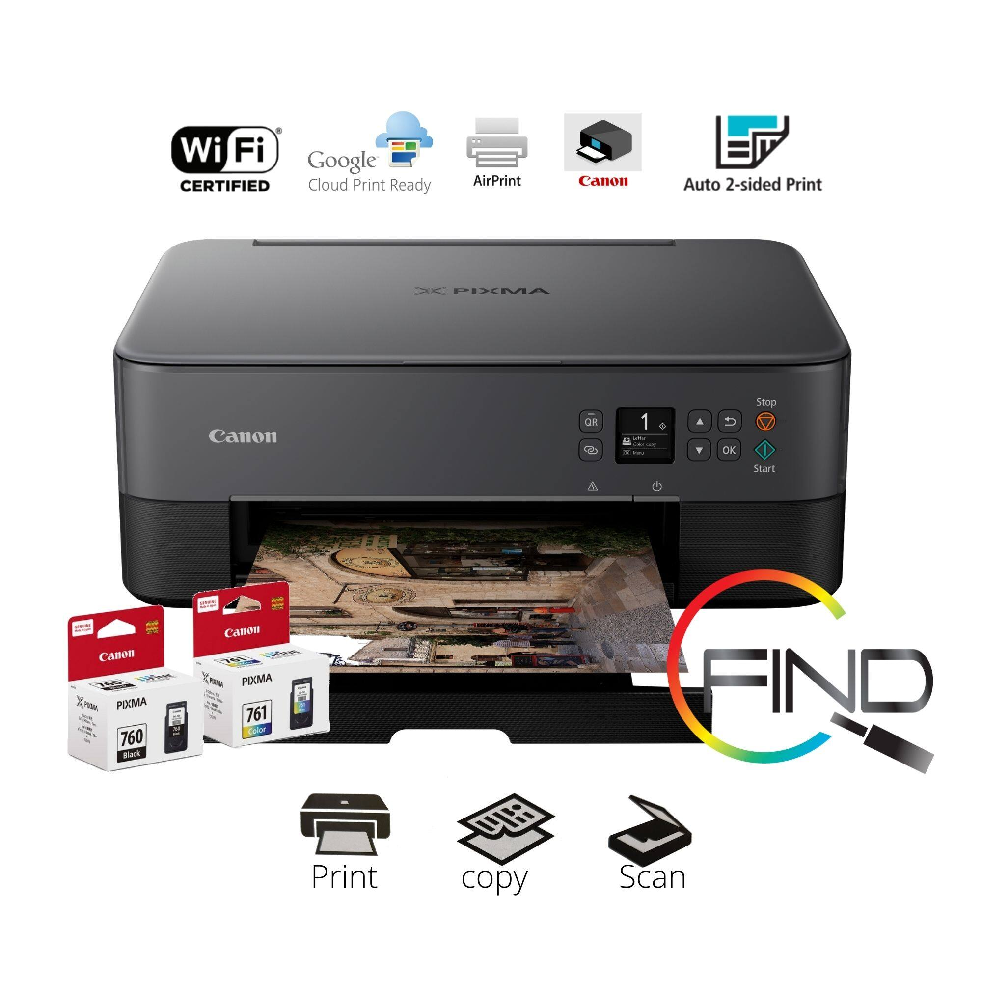 """CANON PIXMA TS5370 (Black) Compact Wireless Photo All-In-One with 1.44"""" OLED Printer"""