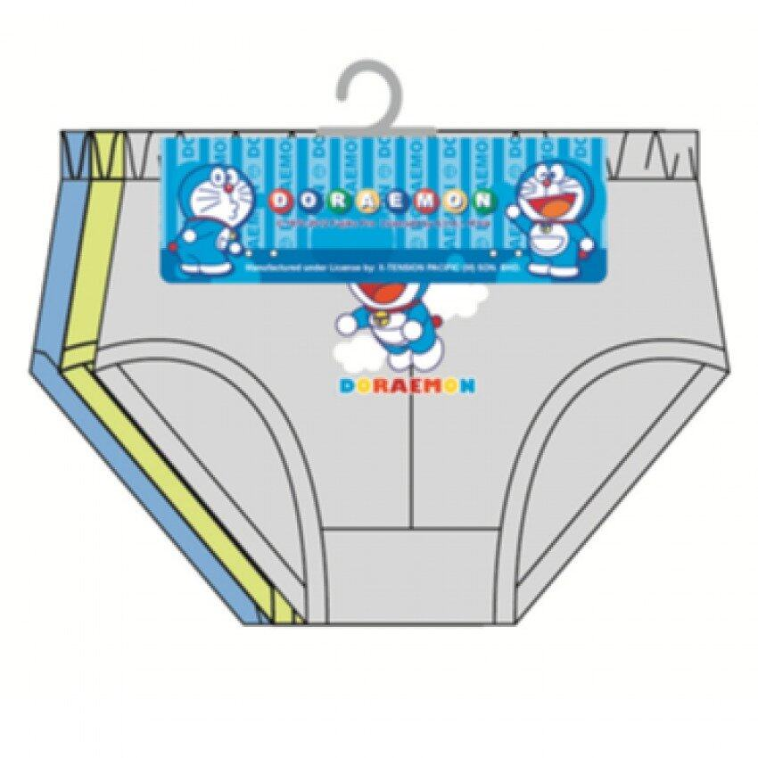 Doraemon Boy's Briefs Set 100% Cotton 4yrs to 12yrs - Grey Light Green And Dark Blue Colour