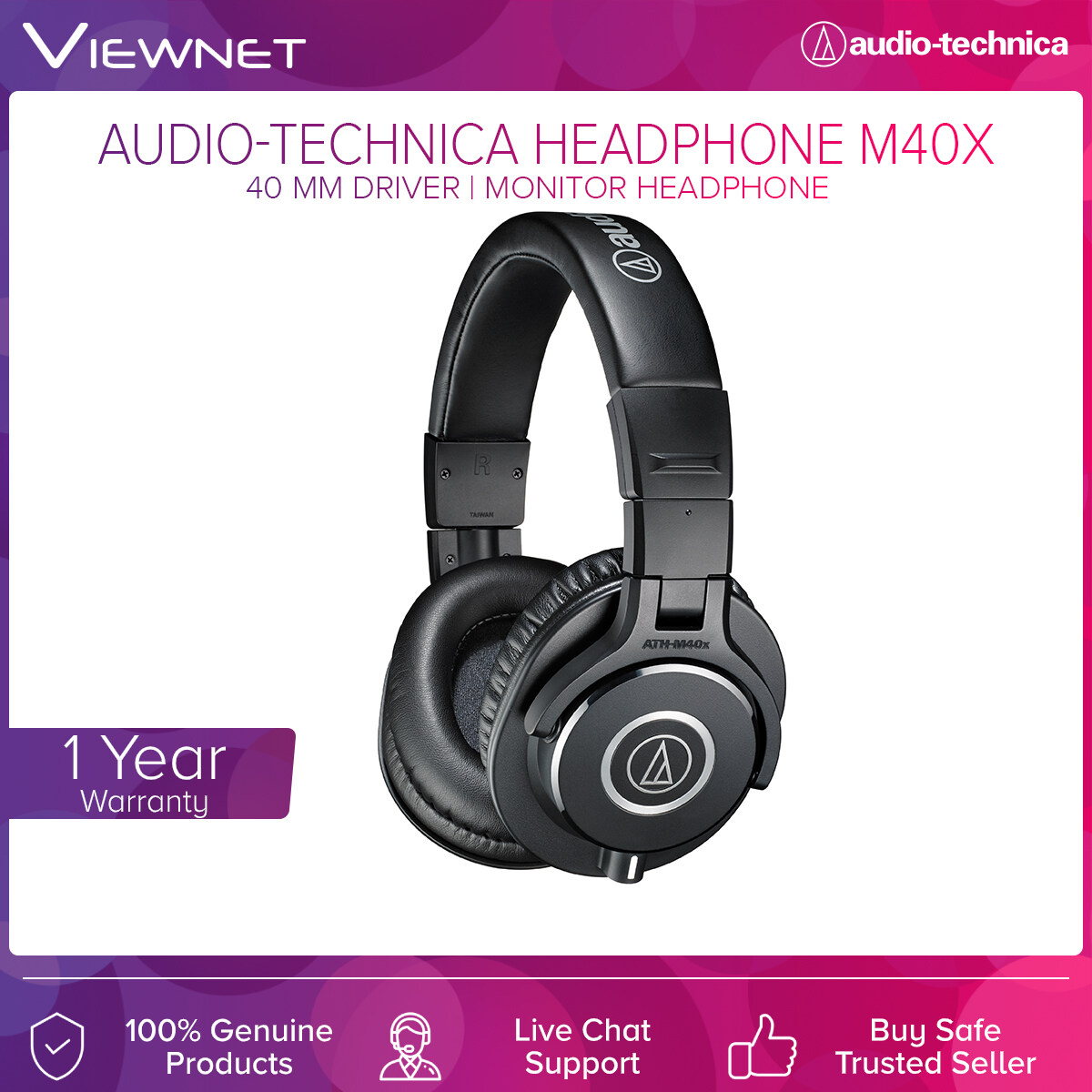 Audio-Technica Professional Monitor Headphones ATH-M40X with 40mm Driver, Copper-Clad Aluminum Wire, 3 Meter Length Cable, 15 - 24,000 Hz