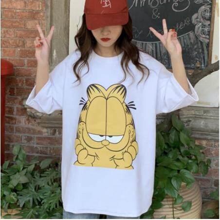 Ready Stock Women Korean cartoon cat plus size cotton loose short sleeve Tshirt