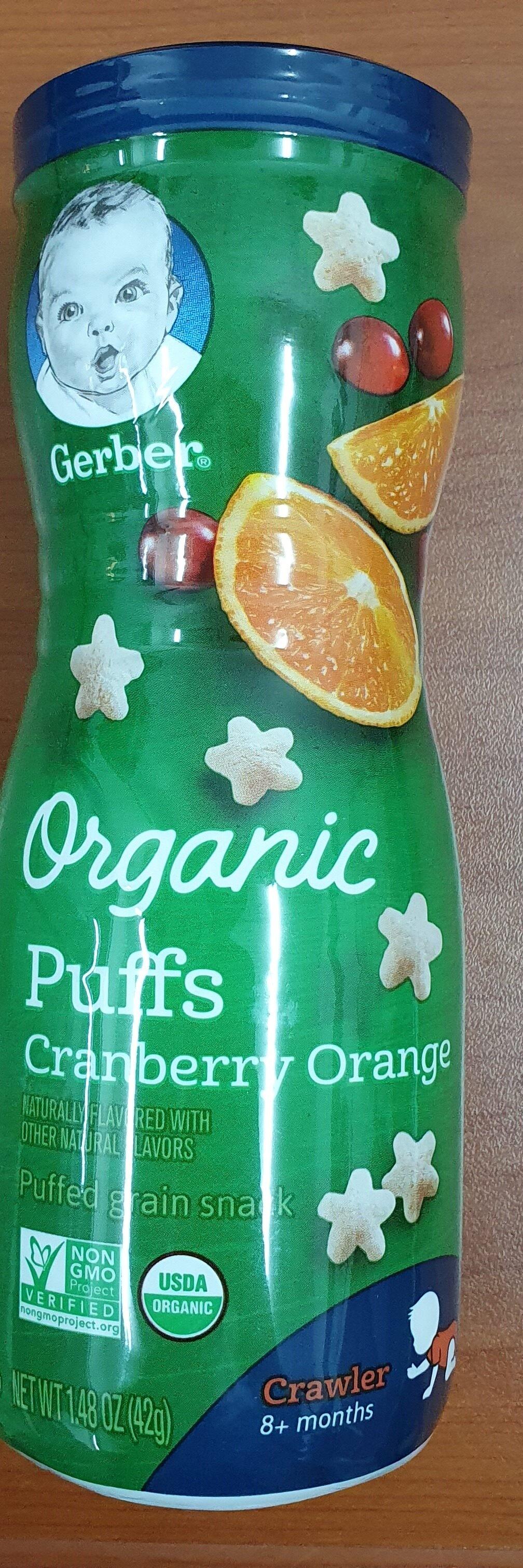 Gerber Organic Puffs Grain Snack Cranberry Orange 42g Twin Pack