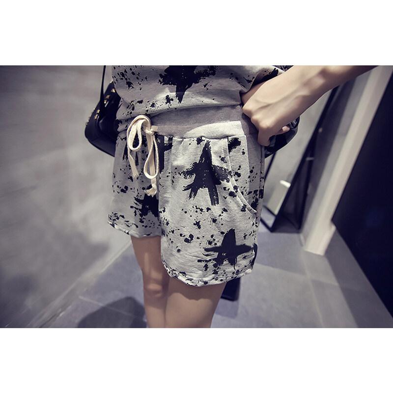 2pcs/set Women Casual Loose-fitting Fashion-printed Tops+Shorts