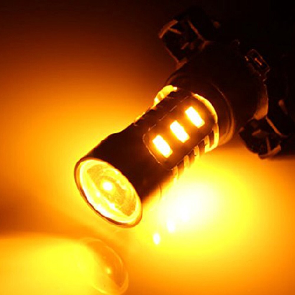 Car Lights - 1 Piece Amber Yellow Error Free 18-SMD PY24W 5200s LED Bulbs For some BMW - Replacement Parts