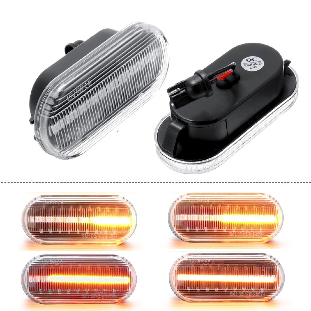 Car Lights - 1 Pair Clear Flowing LED Side Marker Signal Light Fit For VW T5 & T5.1 2003-2009 - Replacement Parts
