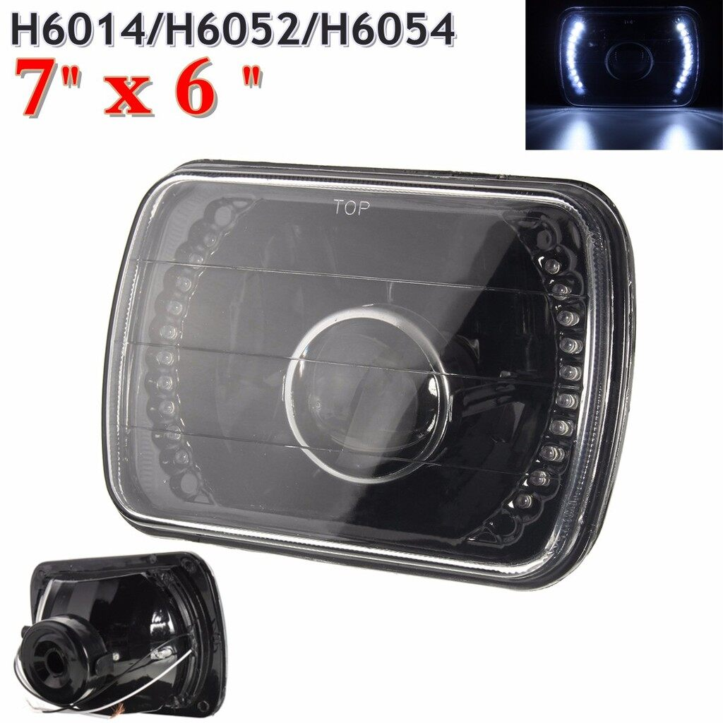 Car Lights - H6014/H6052/H6054 7x6 LED Ring Projector Headlight Shell For Benz Jeep Mazda - Replacement Parts
