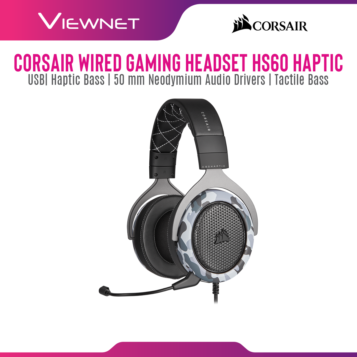 Corsair HS60 Haptic Wired Gaming Headset with USB, Haptic Bass, 50 MM Neodymium Audio Driver, Tactile Bass, Crafted For Comfort,