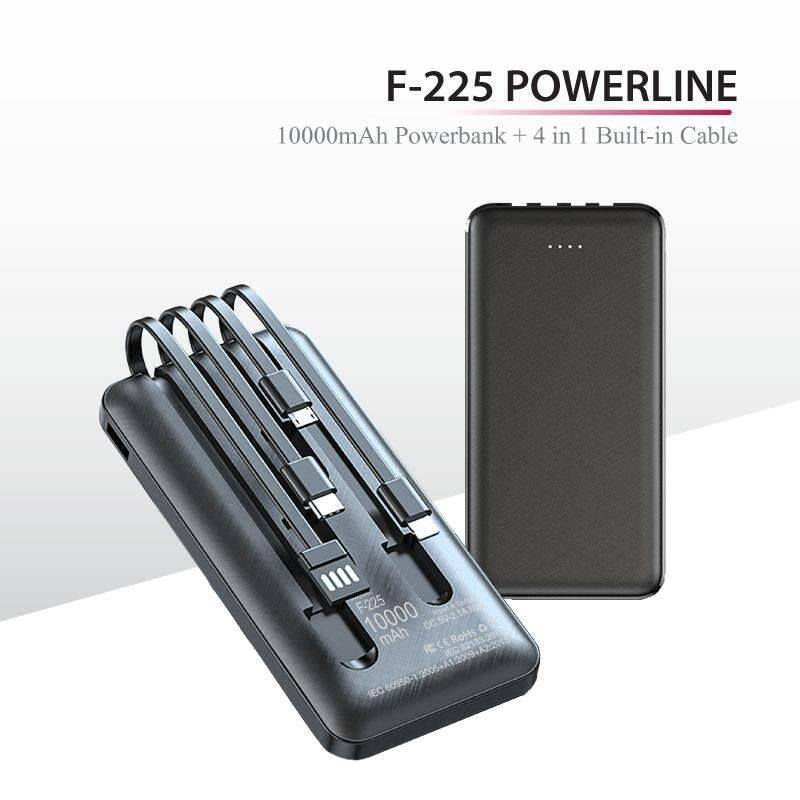 F-225 POWERLINE - POWERBANK WITH 4 BUILT IN CABLE  10000mAh - FREE Customised Individual Name