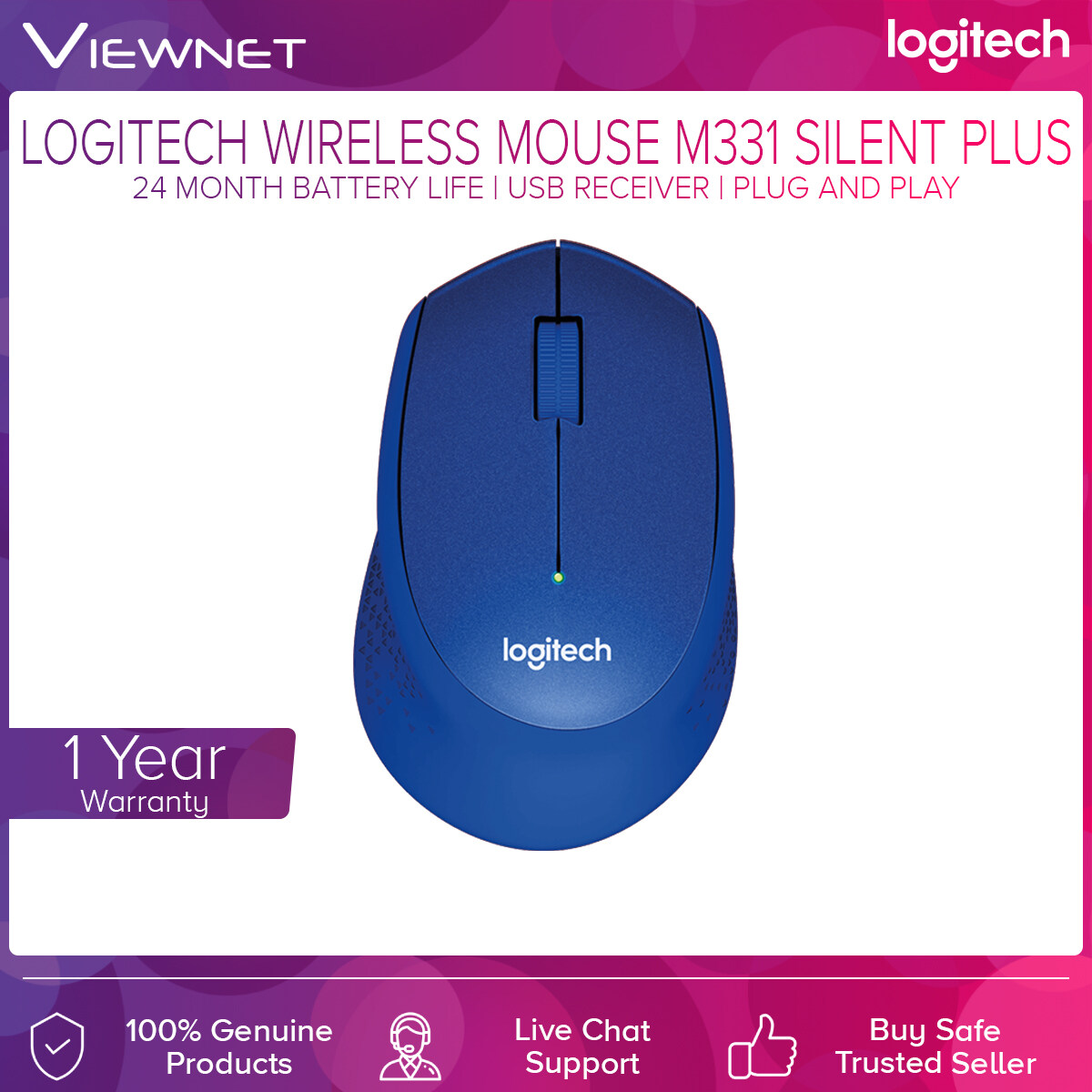 Logitech M331 Silent Plus Wireless Mouse (Black/Red/Blue)