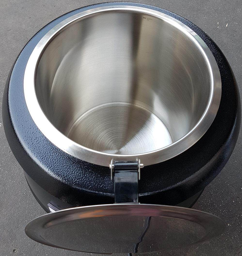 soup food sauce water kettle keep warmer warm heater heat hot boil boiler pot pan tray handle holder hold set kit tank drink press electric temperature adjustable control machine tool water cook cooker stainless steel portable