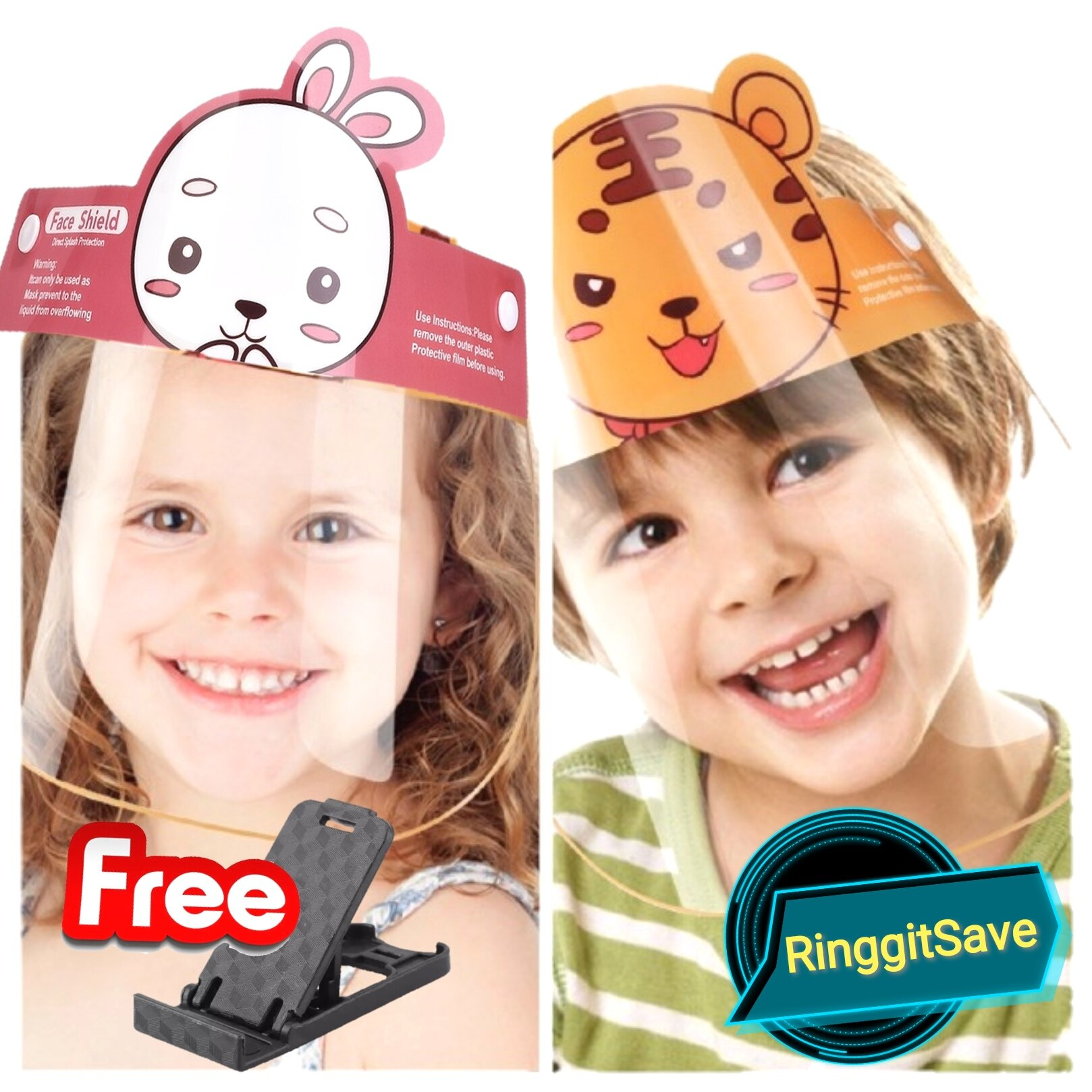 (Ready Stock) Malaysia Face Shield Kid Mask Transparent Protective Face Shield For Children Kid (Pink)