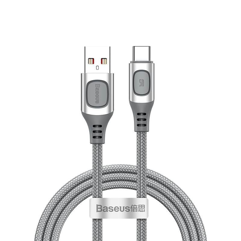 Baseus 2M Flash Charge Protocols Convertible Usb to Type-c 5A Cable (CATSS-B0S) SIL / (CATSS-B0G) GRY