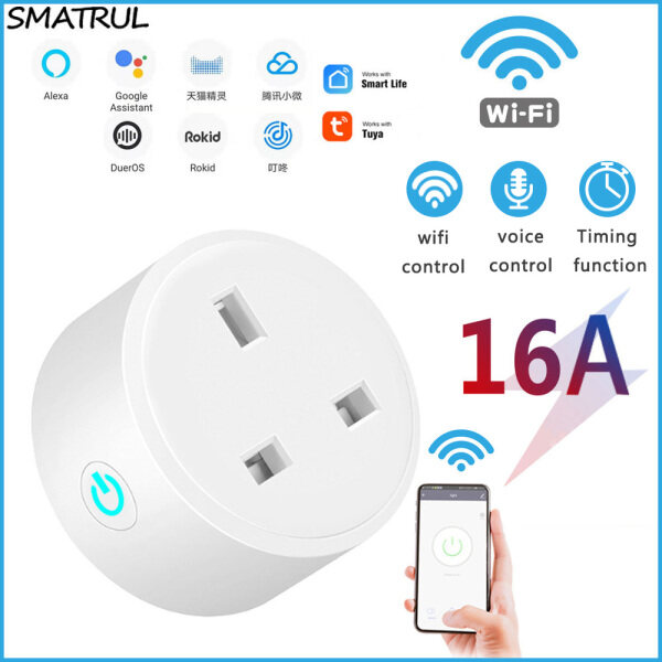 SMATRUL Smart Wifi Plug wifi Socket Switch Remote Control WiFi Sockets Compatible with Alexa Google Home Assistant UK Plug