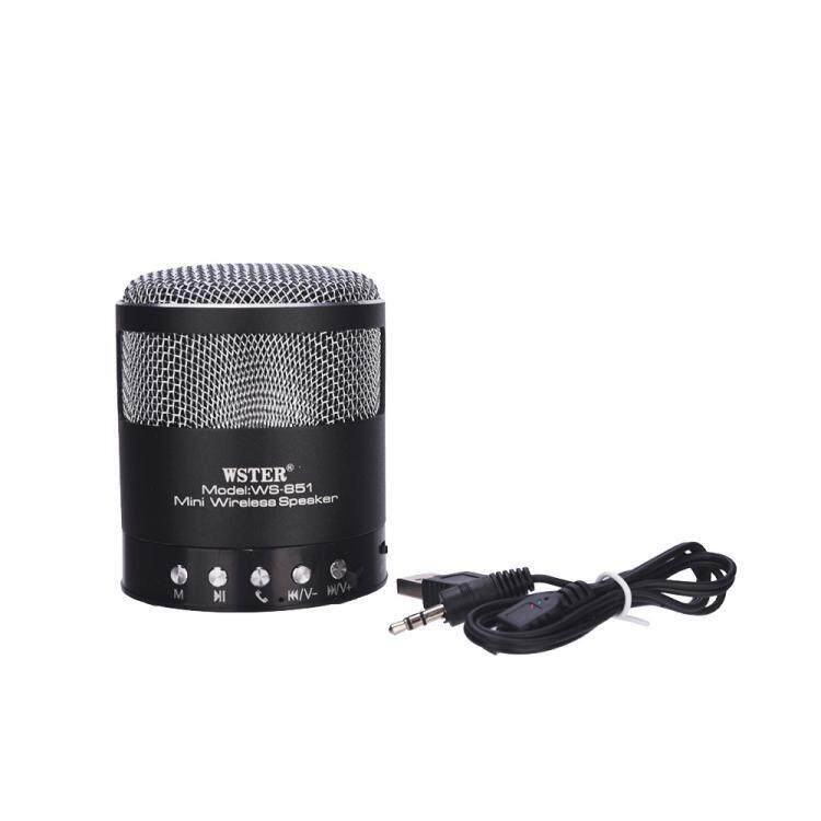 Wster Ws-851  Bluetooth Speaker With Hi-fi Sound & Metallic Bass Background BLACK