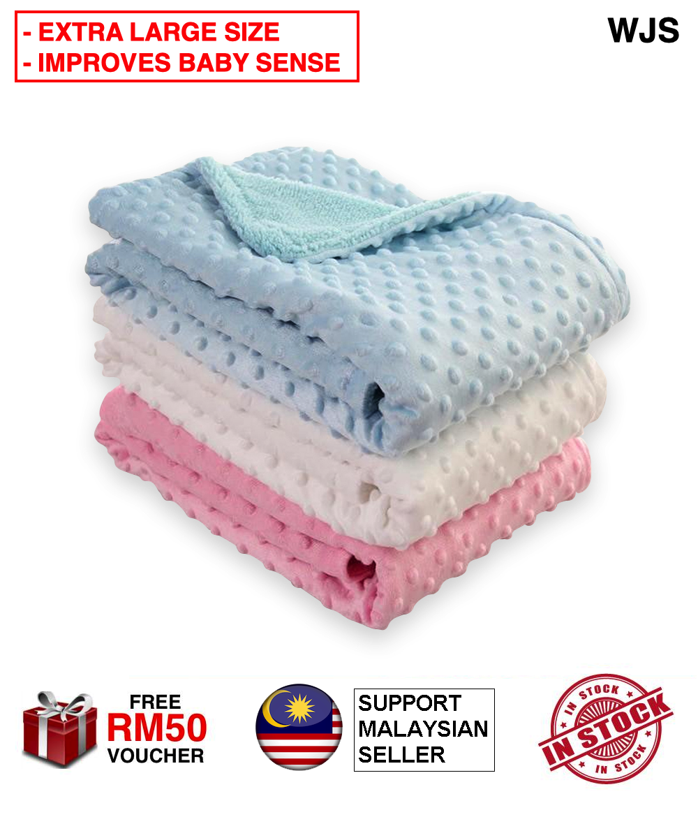 (BABY SAFE MATERIAL) WJS Premium Cotton Blanket Baby Bubble Fleece Blanket Soft Blanket Swaddle Swaddler Swaggle Bedung Lembu Selimut BLUE PINK BEIGE GREEN TURQUOISE [FREE RM 50 VOUCHER]