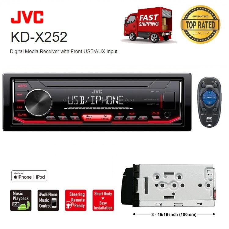 JVC KD-X252 Digital Media Receiver Single Din Car Player USB AUX MP3 WMA