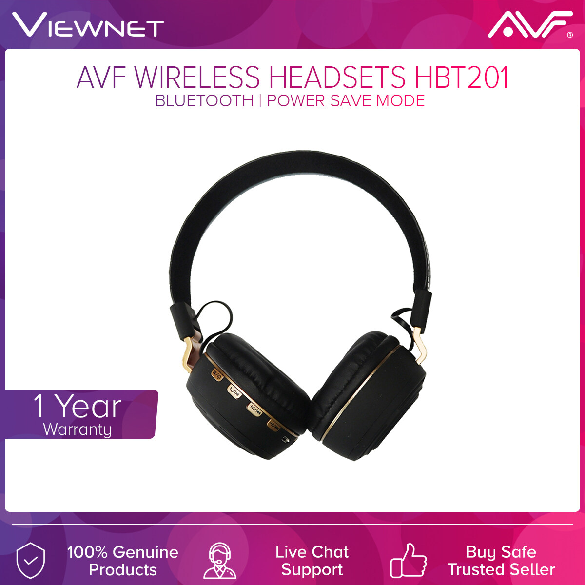AVF Wireless Headsets HBT201 with Bluetooth, AUX Support, Power Save Mode, Up To 5 Hours, Foldable Design