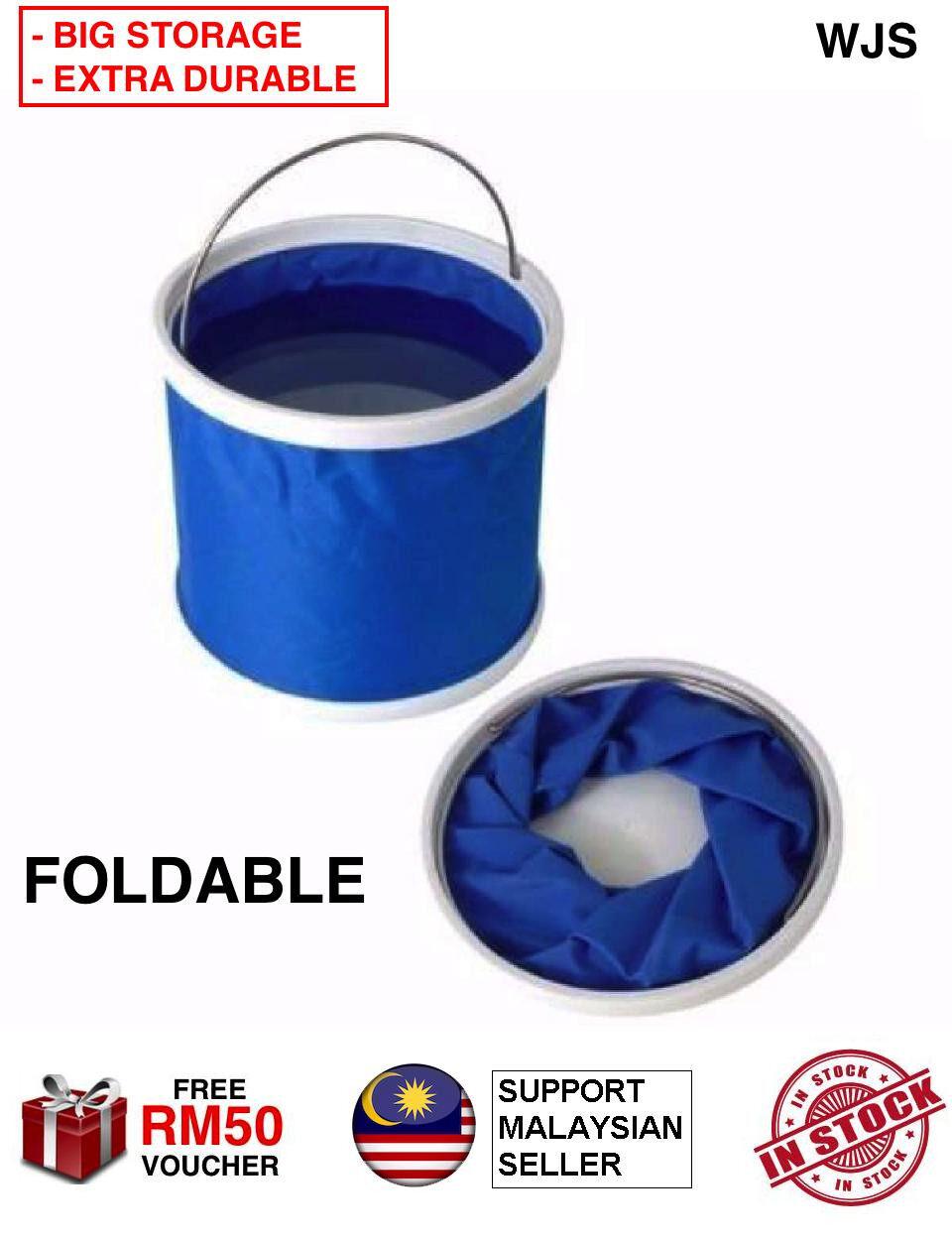 (BIG STORAGE + DURABLE) WJS Foldable Foldable Water Bucket Car Wash Water Pail Fishing Camping Bucket Water Bucket Baldi Air Boleh Dilipat Fishing Pail Baldi Pancing Ikan 11.6L 1160ml BLUE [FREE RM 50 VOUCHER]