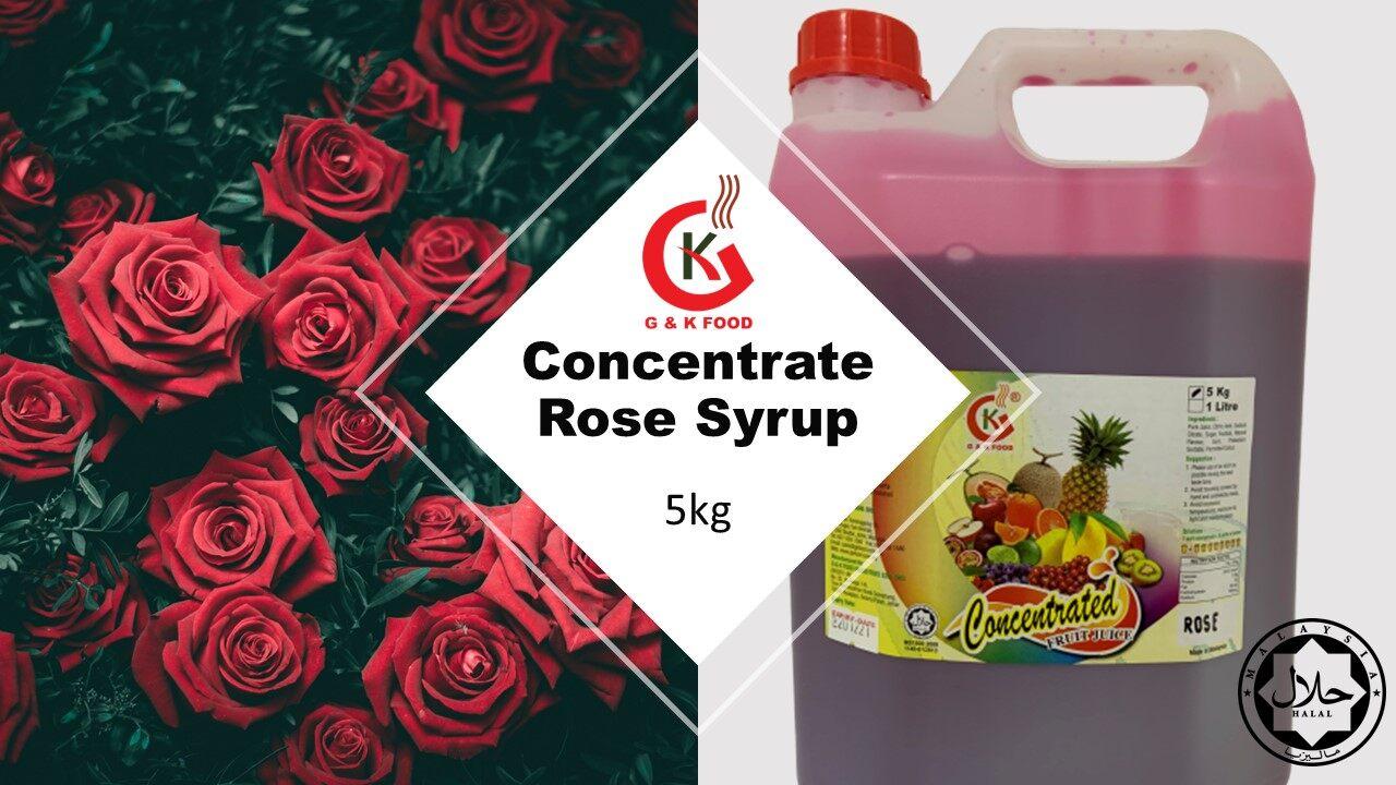 [100% JAKIM HALAL] 5kg Concentrate Rose Syrup/ Bandung/ Sirap bandung,/ Air bandung ! Stock Cukup! Buatan Malaysia~