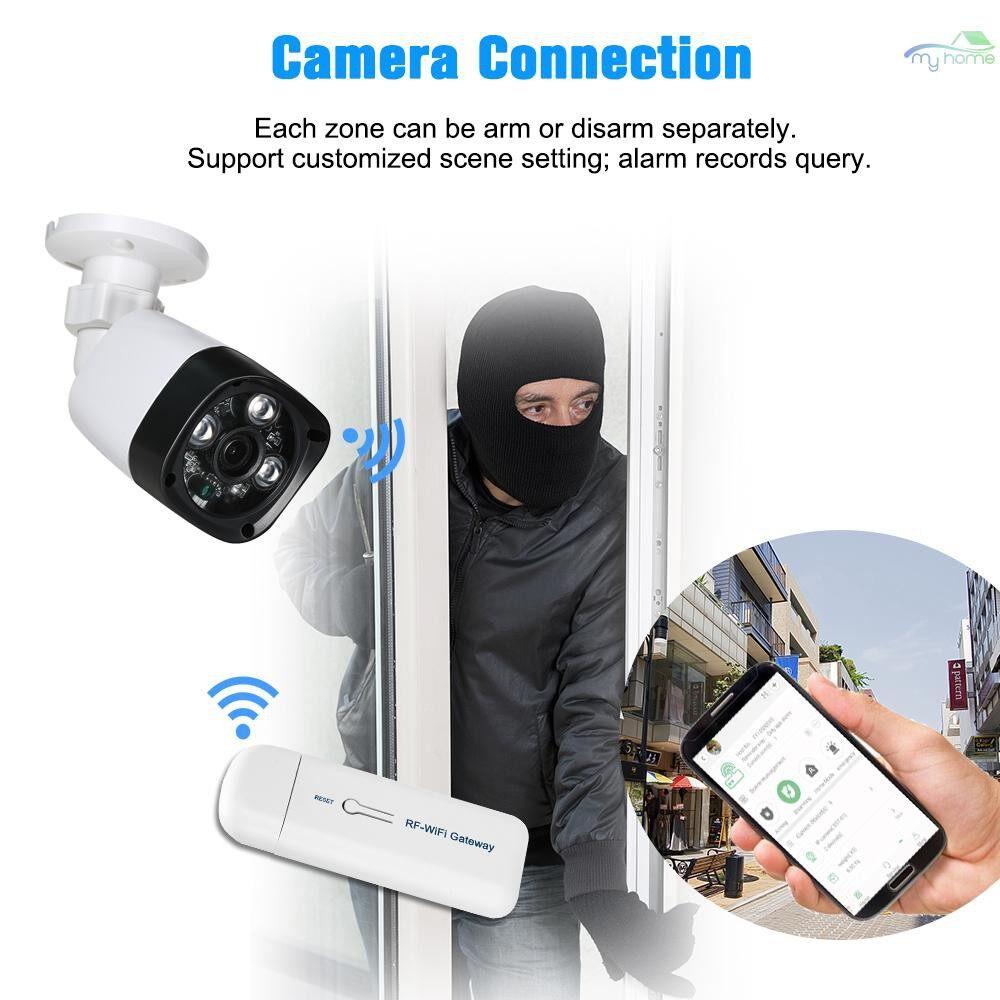 Sensors & Alarms - WIRELESS RF-WiFi Gateway Alarm System with 433MHz Remote Controller Door Sensor PIR Motion Sensor - WHITE