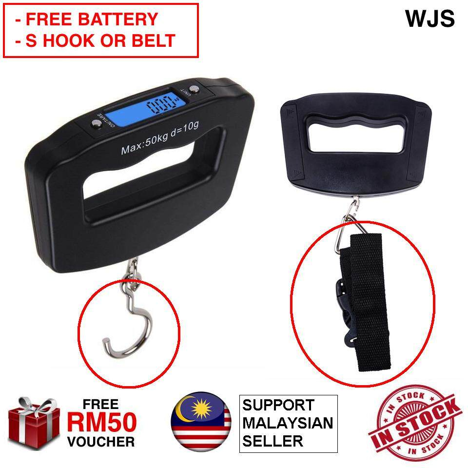 (FREE BATTERY) WJS LCD Luggage Digital Scale Pocket LCD Digital Fishing Hanging Hook Electronic Scale Hook Weight Luggage Scale BLACK S HOOK OR BELT [FREE RM50 VOUCHER]