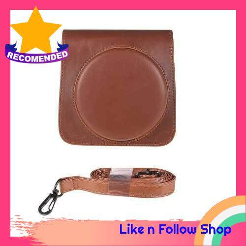 Andoer Protective Case PU Leather Bag with Adjustable Strap for Fujifilm Instax Square SQ6 Instant Film Camera Black (Brown)
