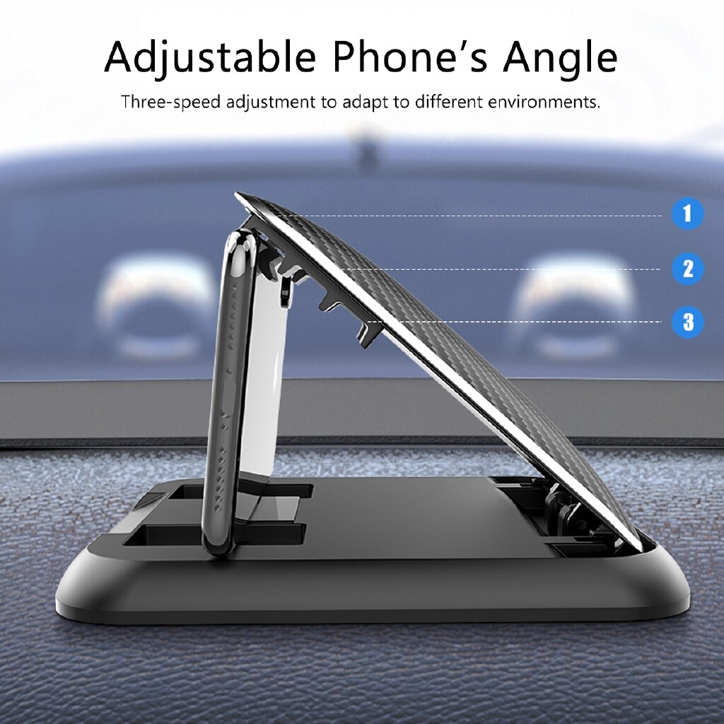 Phone Holder & Stand - Carbon Fiber Textured Car Dashboard Adjustable Phone Holder Mount Stand - Cases Covers