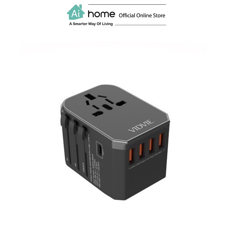 VIDVIE TA4402 4 USB +Type-C World Travel [ Charger Adapter ] For (US/CN/AUS/EU/UK) with 1 Year Malaysia Warranty [ Ai Home ] VIDVIE TA4402 4 Charger Adapter
