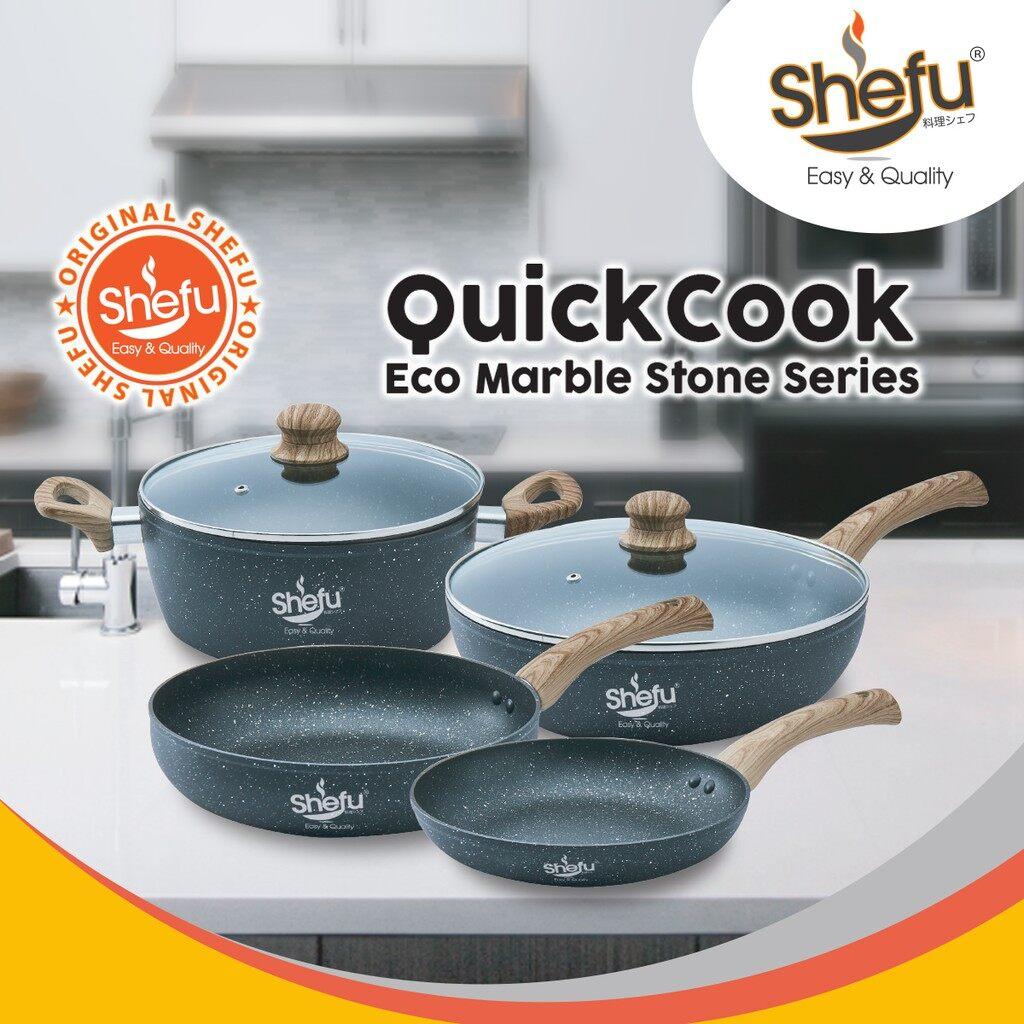 Shefu 28cm Non-stick Deep Frying Pan Marble Stone Wok