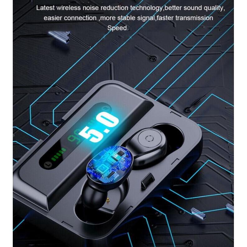 F9 WIRELESS BLUETOOTH Earbuds TWS BLUETOOTH 5.0 Sports Waterproof Ear Hook WIRELESS Earphone - BLACK / WHITE