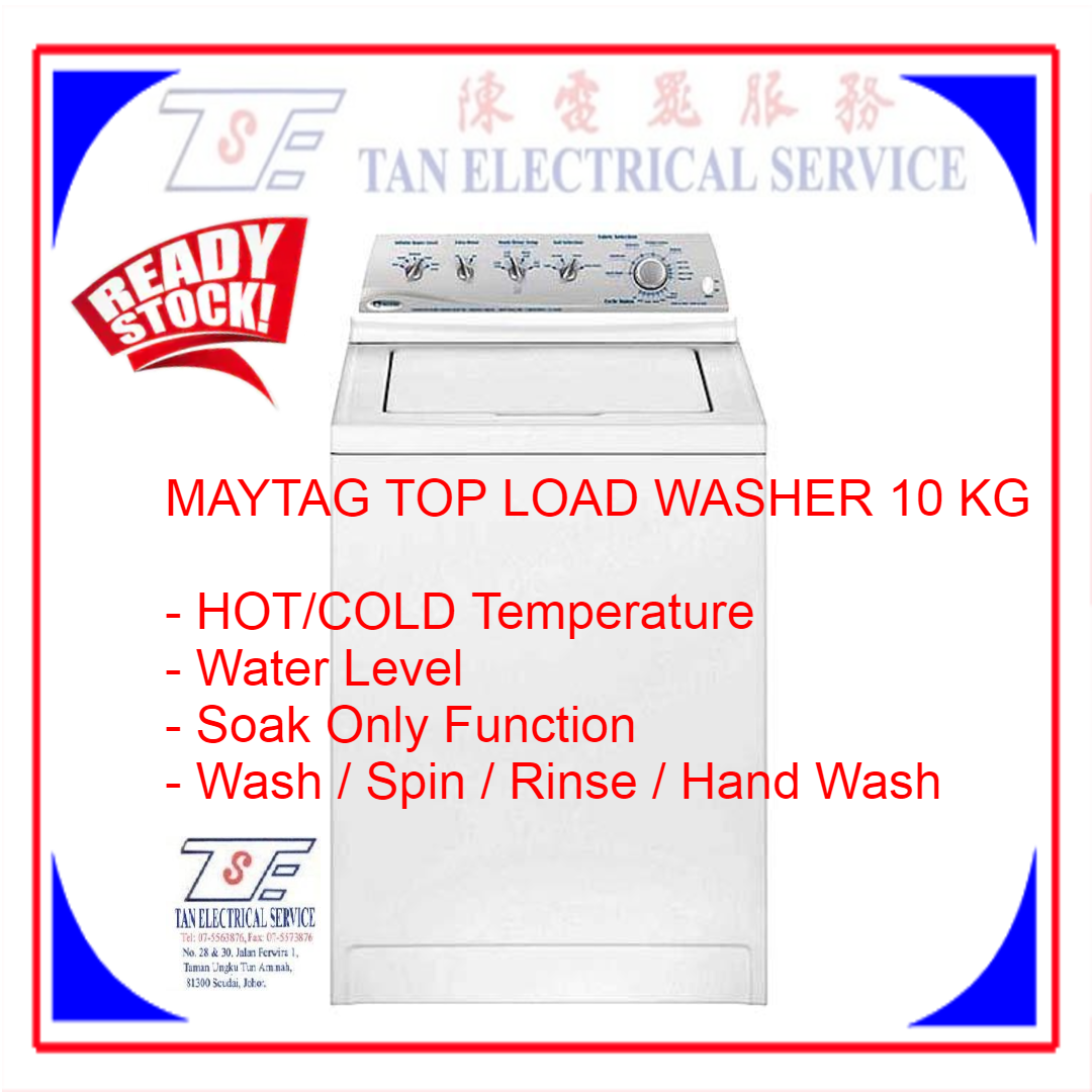 [DISPLAY SET] MAYTAG Top Load Washer 10KG Hot/Warm/Cold Temperature Wash/Rinse/Spin MAV3855AGW