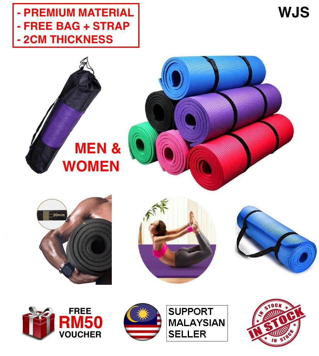 (EXTRA LARGE, EXTRA THICK, EXTRA WIDE) WJS Unisex Premium Grade Extra Thick Comfortable Multifunction Yoga Mat Yoga-Mat Anti-skid Non Slip Gym Fitness Cushion MULTICOLOR UP TO 185CM [FREE RM 50 VOUCHER]
