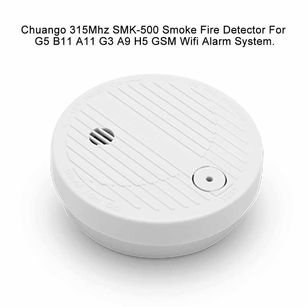 People's Choice Chuango 315Mhz SMK-500 Wireless Alarm Security Smoke Fire Detector Photoelectric Smoke Alarm Detector Fire Protection Sensor For Home Kitchen/Store/Hotel/Factory (Standard)