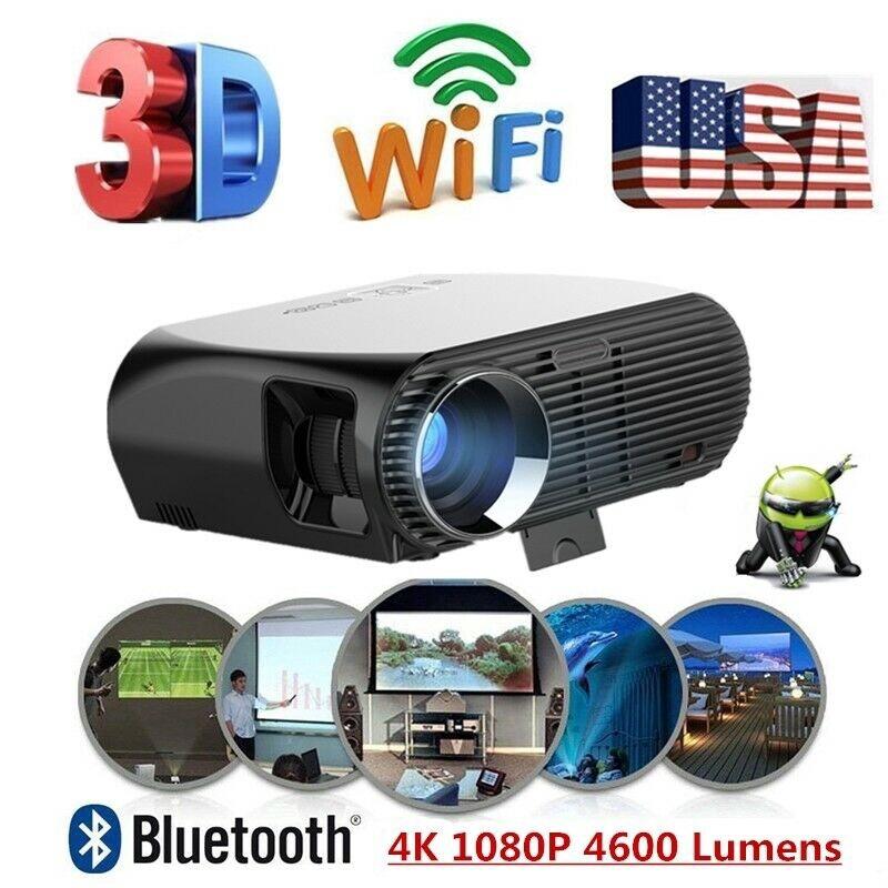 ANDROID LED PROJECTOR WIFI 4K HD 1080P VIDEO THEATER CINEMA HDMI VGA RJ45 AV