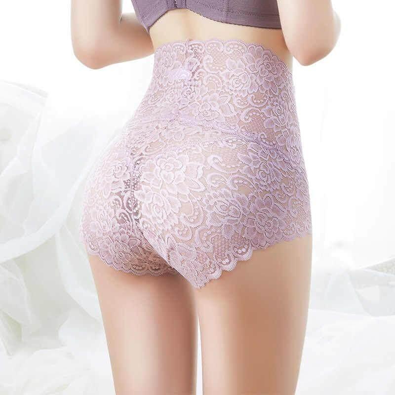 Super Plus Size Women Lace High Waist Lace Underwear Expandable Sexy Panties