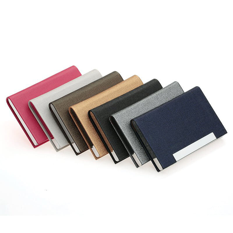 [NEW][M'sia warehouse Direct] 2020 Rainbow Series Men's & Women's Bussiness Name Card Leather Stainless Steel Luxury Box Holder Korean Series Upgrade Version Card Box Personality Stylish Wallet ID Card Coins Box Perfect Gift For Love One Kulit Halal