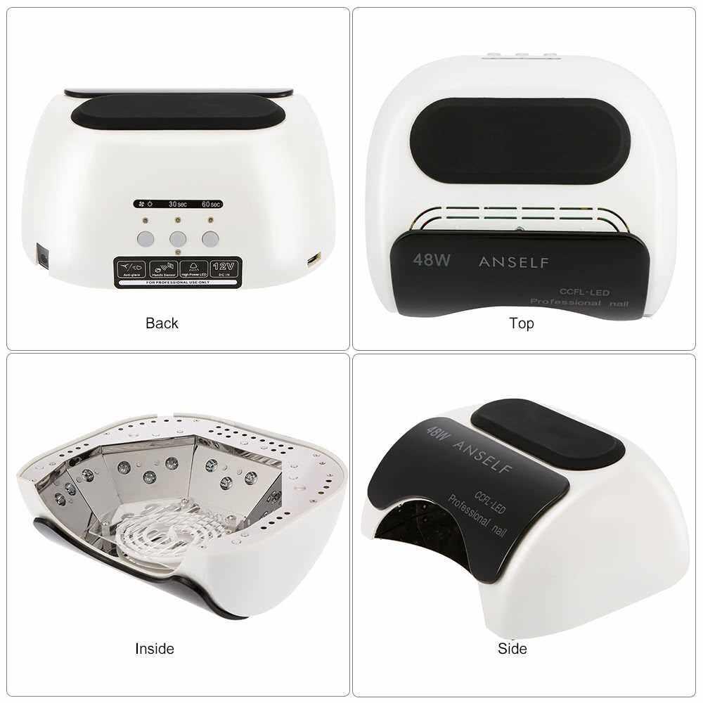 Best Selling Anself 48W LED + CCFL Nail Lamp Nail Gel Dryer Nail Curing Machine Fingernail & Toenail Gel Curing 110-240V Nail Art Painting Salon Tool White EU Plug (White)