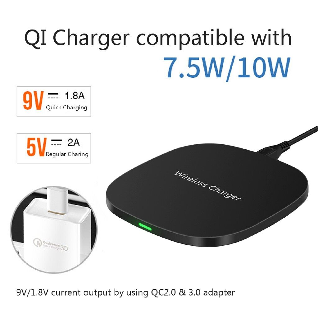 Chargers - 9V 10W Qi WIRELESS Fast Charger Charging Pad For iPh XS Max XR Samsung Note 9 - Cables