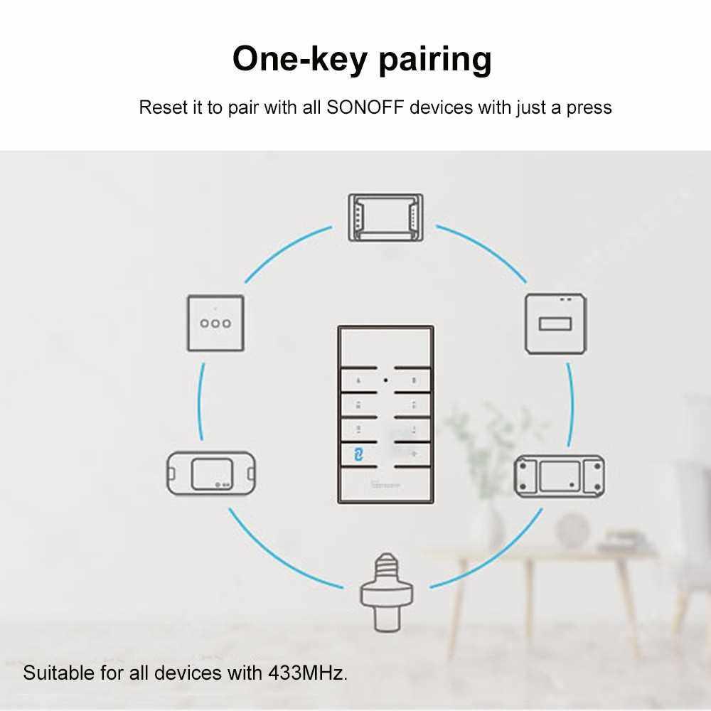 SONOFF RM433 Remote Controller Updated Version 433MHz RF Remote Controller Suitable for SONOFF Basicrf/ Slampher/ iFan03/ 4CHProR2/ TX series/ 433 RF Bridge (1)