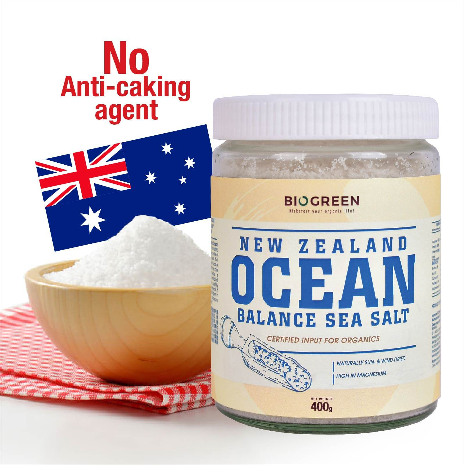 Biogreen New Zealand Ocean Balance Sea Salt 400g (HALAL)
