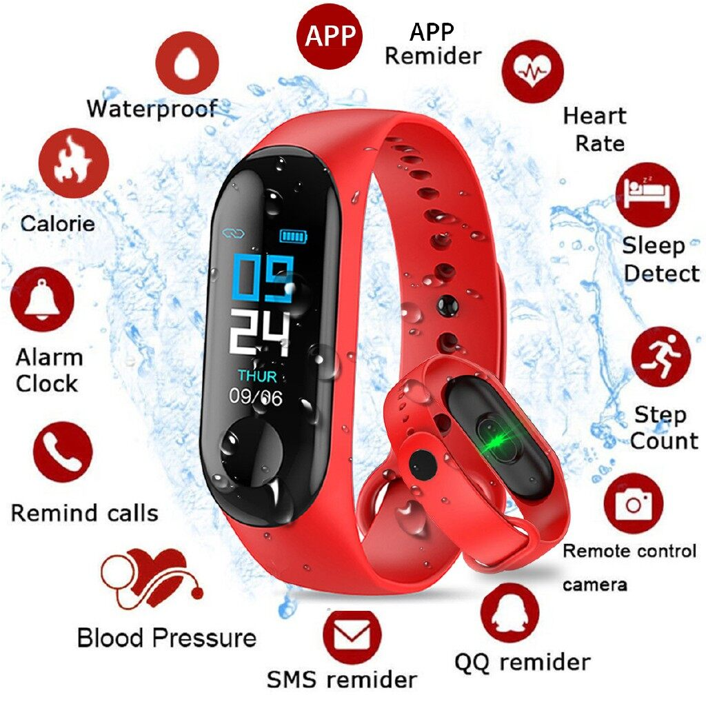 Smart Watch - USB IN-LINE Charging Smart Watch Wristband Bracelet Fitness Heart Rate Tracker - BLACK / DARK BLUE / RED / LIGHT BLUE
