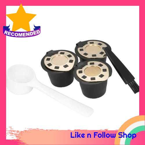 3pcs/set Reusable Coffee Capsule for Nespreso Machine Set of 3 Coffee Filters with Spoon and Brush